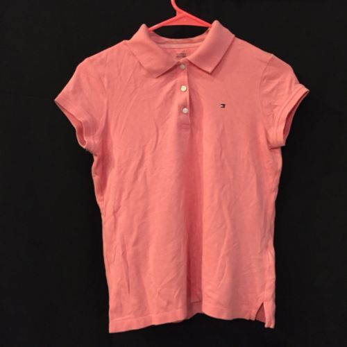 Tommy Hilfiger Pink Short Sleeve Cotton Polo Shirt Youth Girls XL NWT New