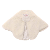 IVORY Super Soft Poncho Fur Coat with Quilted Lining and Ribbon Front Closure - $27.95