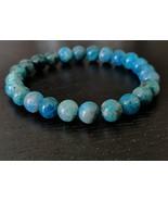Neon Blue Apatite gemstone stretch bracelet #018 - $17.50