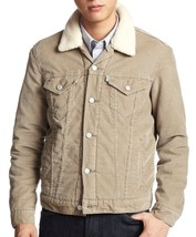 Levi's Men's Button Up Corduroy Sherpa Fleece Lined Jacket Cream 705980018