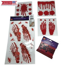 Halloween Decorations For Window and Floor-Bloody Handprint Gel Window C... - $26.99