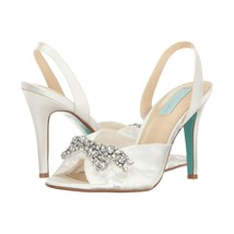 Betsey Johnson Briel Ivory Satin Crystal Wedding Heel Pumps Sandals 7.5 - $78.71