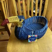 CIROA Hello Summer TOUCAN BIRD WICKER RESIN SERVING BASKET Blue NWT - $44.55