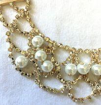 Cohesive Jewels Imitación Perlas Y Cristal Oro Chapado Vieira Collar Babero Nwt image 3