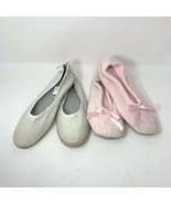 Lot of 2 Women's Espadrille Cream Flats & Isotoner Pink Slippers, Size 9... - $9.46