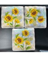 "3 Maxcera Yellow FLOWING SUNFLOWER Flower Square Dinner Plate Platter 8.5"" - $34.64"