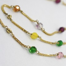 18K YELLOW GOLD NECKLACE EAR ALTERNATE WITH FACETED BLUE PINK PURPLE GREEN BALLS image 2