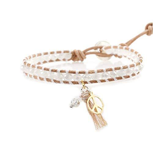 Great Gift for Girls Fashion Bracelet with Pendant Leather Cord Bracelet [White]