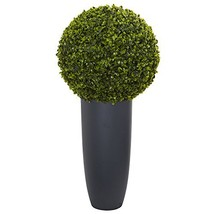 "Nearly Natural Artificial Plant Indoor/Outdoor 30"" Boxwood Topiary in Gr... - $89.59"