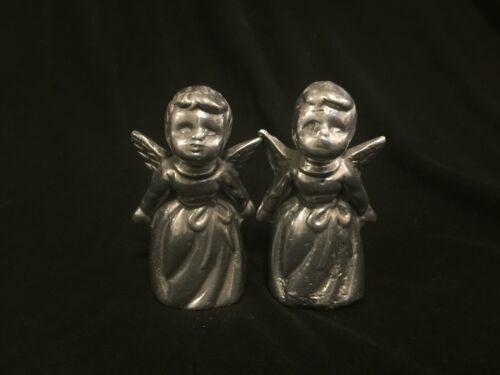 Vintage Pair Silver Tone Metal Cherub Angel Figure Heavy Figurine Decor