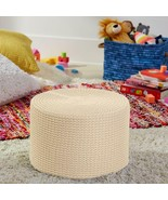 Contemporary Cozy Sweater Knit Cream Ottoman Footstool Seat Living Room ... - $88.56
