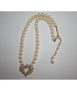 Marvella Faux Pearl Sparkling Crystal Heart Choker Necklace J273 - $38.00