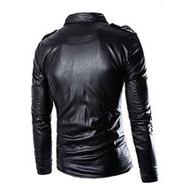 Men's Black Slim fit Brando Style Faux Leather Buckles Motorcycle Jacket image 2