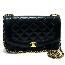 AUTHENTIC CHANEL CC Matelasse Diana Shoulder Bag Black Lambskin Leather ... - $2,200.00