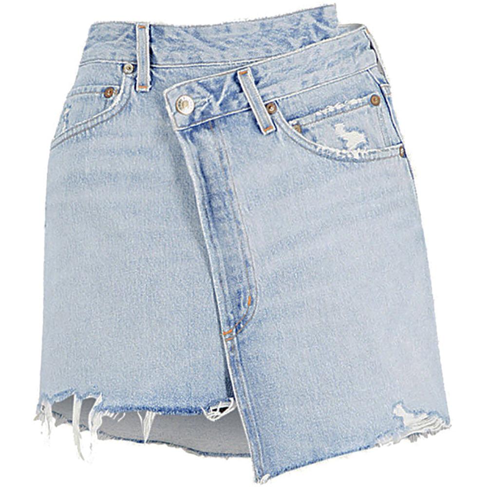 Agolde criss cross denim mini skirt 1