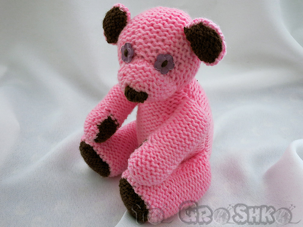 Handmade  teddy bear - soft toy animal - baby shower gift - knitted toy