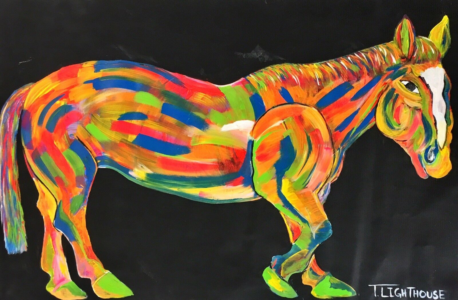 "Primary image for T LIGHTHOUSE ""HORSE"" ORIGINAL ONE OF KIND PAINTING ON CANVAS HAND SIGNED"
