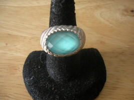 JUDITH RIPKA 925 STERLING SILVER TURQUOISE BLUE FACETED DOUBLET DOME RIN... - $72.43