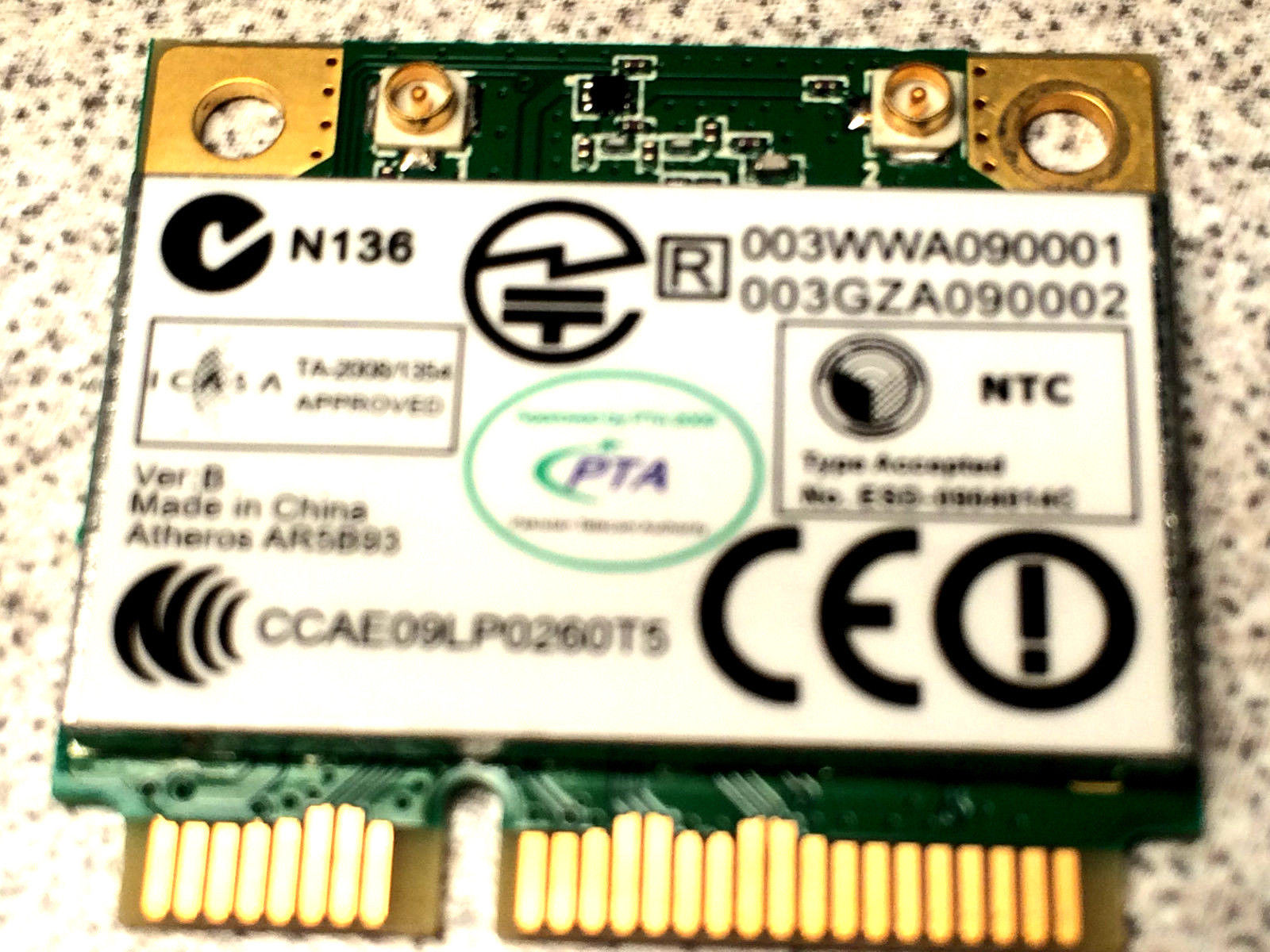 Genuine Acer 5334 Atheros Half Height Wifi Wireless Wlan Mini PCI-E Card AR5B93