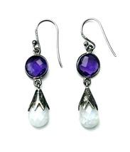 Vintage Sterling Silver Purple Amethyst Briolette Crystal Dangle Earrings - $34.65