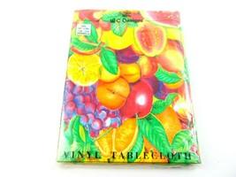 Vintage WC Design Tablecloth 1991 52 x 90 Polyester Backing Fruit Design... - $39.59
