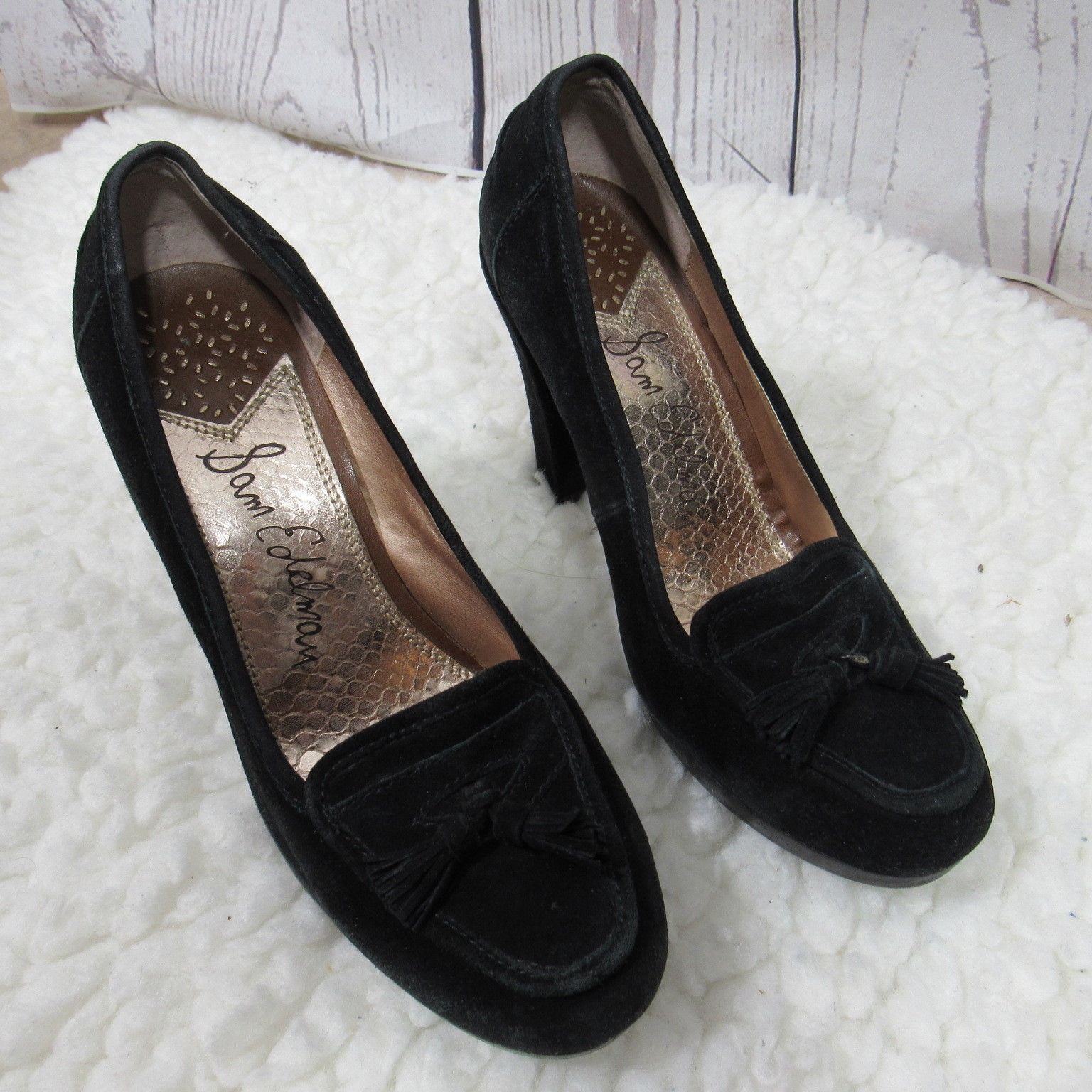 2ed228e44b89c1 Sam Edelman Heels Womens 7.5 M Black Leather and 35 similar items. S l1600