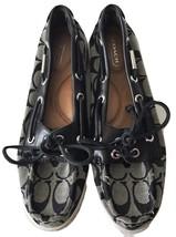 Coach Womens Black Monogram Signature C Logo Pattern Boat Shoes Flats 6.... - $89.99