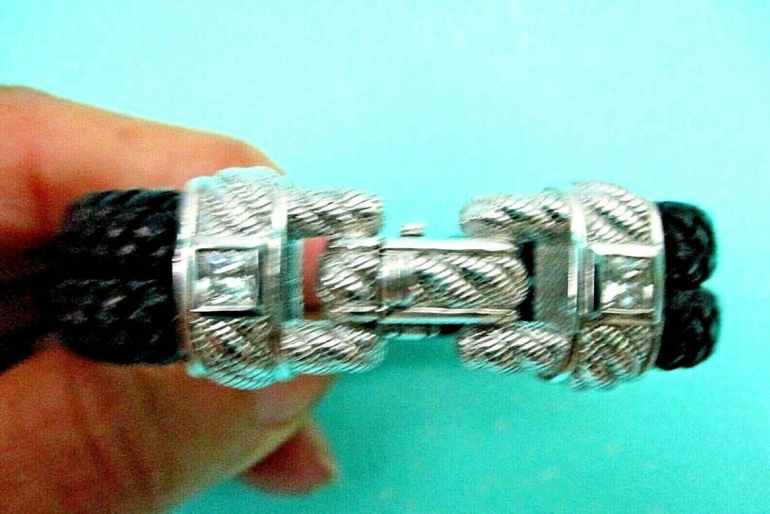 Primary image for JUDITH RIPKA Sterling Silver Diamonique Double Strand Black Bracelet Sz Small