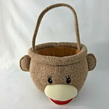 Sock Monkey Easter Basket Plush Stuffed Animal Brown With Handle Candy B... - $14.60