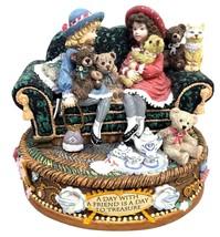 Two little girls sitting on a sofa San Francisco Music Box Co 1997 Figur... - $44.99