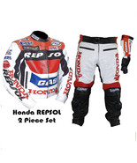 HONDA GAS REPSOL RED MOTORBIKE MOTORCYCLE 2 PIECE COWHIDE LEATHER ARMOUR... - $329.99