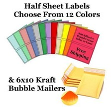 6x10 Yellow Kraft Poly Bubble Mailers + Half Sheet Self Adhesive Shippin... - $2.99+