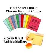 6x10 Yellow Kraft Poly Bubble Mailers + Half Sheet Self Adhesive Shippin... - $2.99+