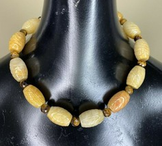 """Vintage Carved BARSE Sterling Silver Necklace Tan Brown 18"""" NWT - $176.42"""
