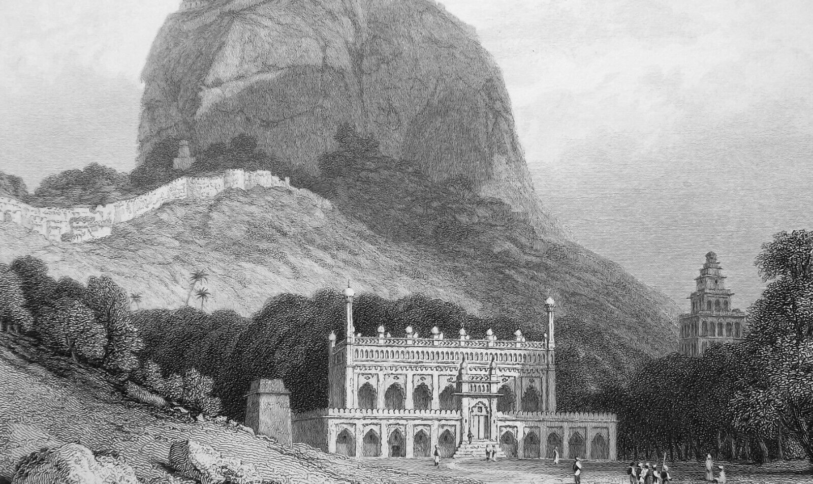 Primary image for INDIA Fort at Senji or Gingee - 1836 Antique Print W. Daniell