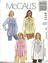McCall's Sewing Pattern 4111 Misses Size 12-18 Pintucked Bodice Button Front Shi - $10.78