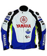 CcccYAMAHA  WHITE AND BLUE REAL COWHIDE MOTORCYCLE BIKER LEATHR JACKET A... - $139.00