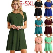 Women's Summer Plus Size Short Sleeve Solid Color T-shirt Dress O-neck A-line Mi