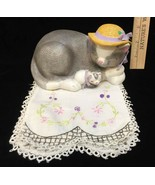 1986 Enesco Vintage Sleeping Cat w/ Kitten Bank Hand Embroidered Doily L... - $12.86