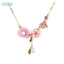 CSxjd handmade Enamel  pink flower necklaces earrings and bracelet Women jewelry - $14.51