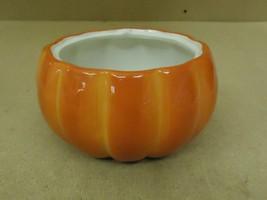 FTD Flower Pot 7in Diameter x 4in H Orange/White Pumpkin Ceramic - $18.68