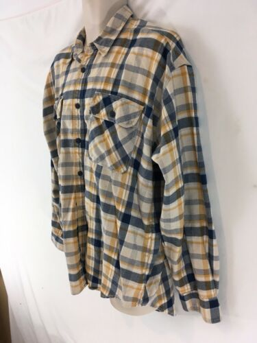 Primary image for Levis Mens L Blue Yellow Plaid Hiking Camp Lightweight Cotton Flannel Shirt