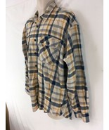 Levis Mens L Blue Yellow Plaid Hiking Camp Lightweight Cotton Flannel Shirt - $39.60