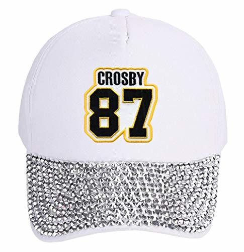 Sidney Crosby Hat - Women's Pittsburgh Hockey Jersey Number Adjustable Cap (Whit