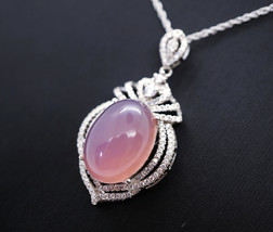Large Pink Chalcedony Necklace - Sterling Silver Royal Diamond Pink Gems... - $224.99
