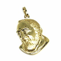 18K YELLOW GOLD PENDANT, SAINT PIO OF PIETRELCINA FACE, 26mm SATIN VERY DETAILED image 1