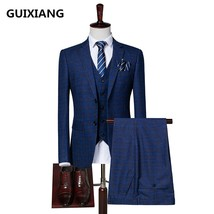 "(Jacket+Vest+Pants) 2018 spring new style Men Suits Fashion stripe Men""s... - $156.10"