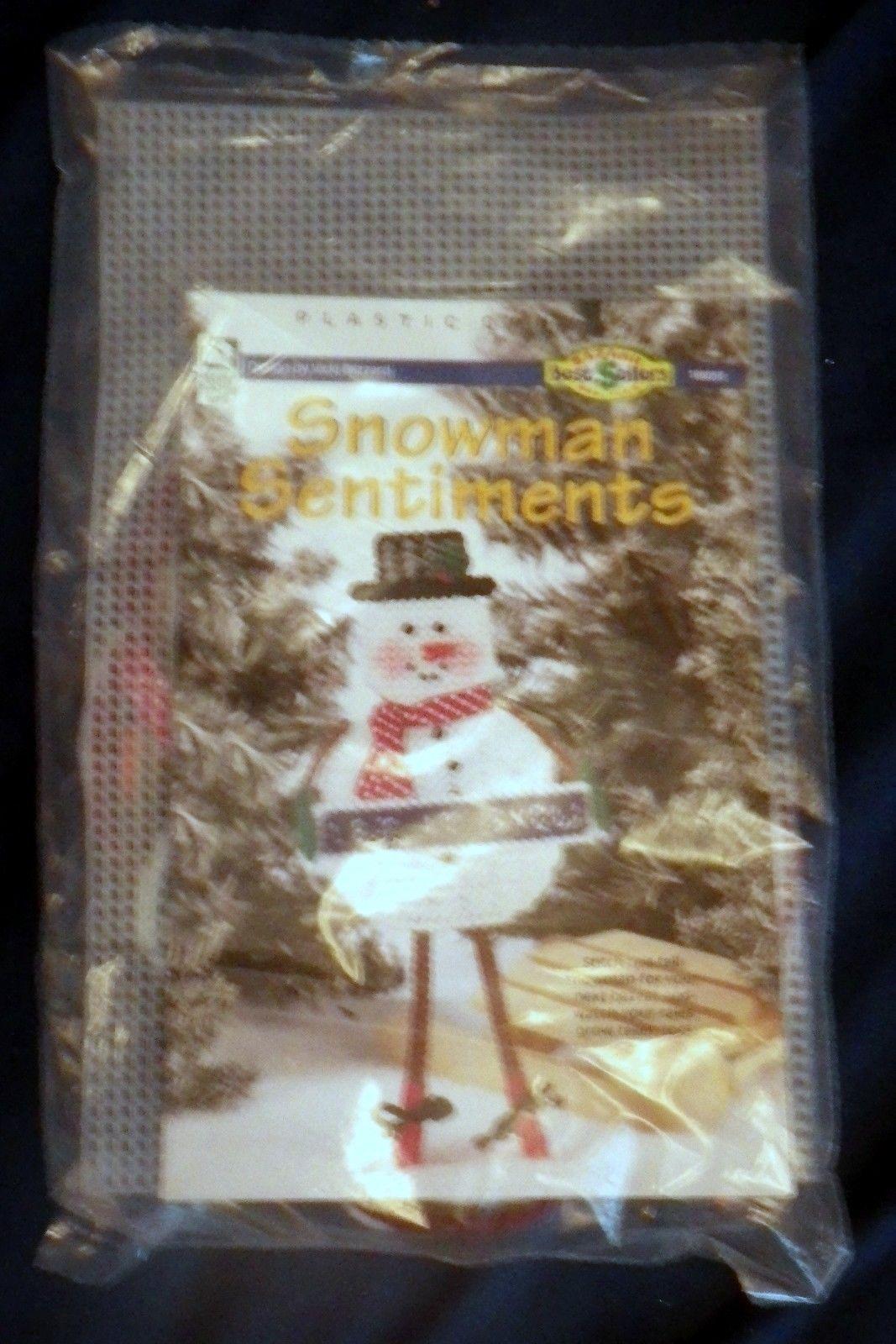 Snowman Sentiments Let it Snow Plastic Canvas Kit House of White Birches - $18.58