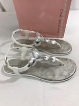 Bandalino Loochoo Jelly Sandal White Silver Thong Sandals NEW Size 6  - $18.69