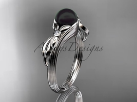 Black Pearl Floral Engagement Ring Unique 14kt white gold Wedding Ring ABP324 - $675.00